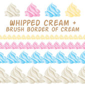 Whipped cream and border colorful brush. Vector set. — Stock Vector