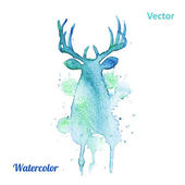 Watercolor deer head Vector on the white background. — Stock Vector