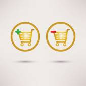 Shopping cart icons. Plus and minus signs. Vector set. — Stock Vector