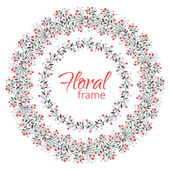 Vector floral frame on a white background. — Wektor stockowy