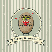 Valentines day greeting card with owls. Vector — Stock Vector