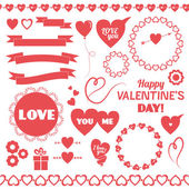 Set of vector elements for Valentines Day. — Stock Vector