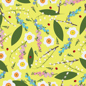 Floral spring seamless vector background — Stockvektor
