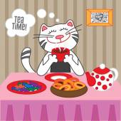Cat drinking hot tea — Stock Vector