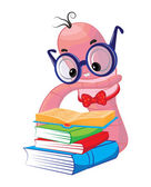 Funny bookworm reading — Stock Vector