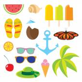 Set flat icons Travel and line length summer. — Stock Vector