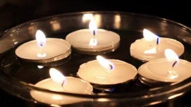 Close up of Candles in Dark Water — 图库视频影像