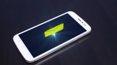 Visual Hologram of New Message on Smart Phone. Futuristic Technology Concept. — Stock Video