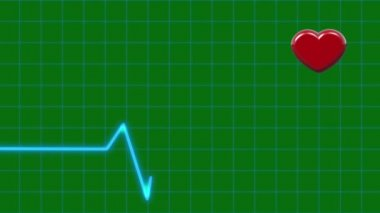 Cardiogram and Pulsing Heart on Green Screen. Healthe Care Concept — Stock Video