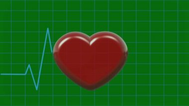 Animation Cardiogram and Pulsing 3D Heart Symbol on Green Screen — Stock Video
