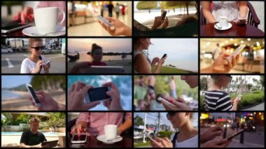 Smartphone Using Montage. Hi-tech Concept — Stock Video