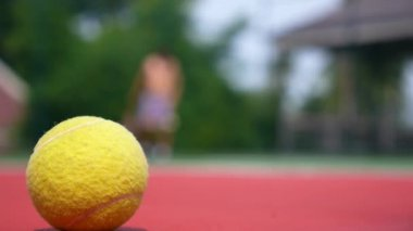 Tennis Player in Action on Tennis Court. Focus on Ball. — Stock Video