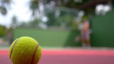 Tennis Ball on Court and Tennis Player. — Stock Video