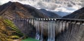 Dam with overflow — Stock Photo