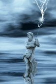 Neptune statue in water — Stock Photo