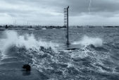 Pier submerged by waves — Stock Photo