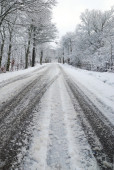 Road with ice — Stock Photo