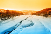 Landscape with river and snow — Stock Photo