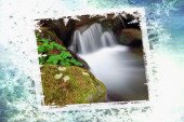 Postcard with waterfall in the undergrowth — Stock Photo