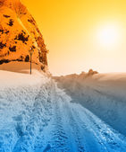 Road with snow and ice — Stock Photo