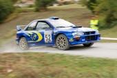 Subaru with blocked wheel — Stock Photo