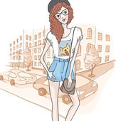 Cute Hipster Fashion Girl — Stock Vector