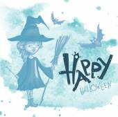 Witch Girl With Bat And Broom — Stock Vector