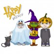 Halloween Children Trick Or Treating — Stock Vector #56842639