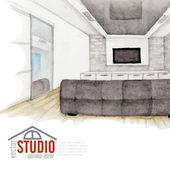Modern Watercolor Interior Design — Stock Vector