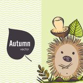 Cartoon Hedgehog With Mushroom — Stock Vector