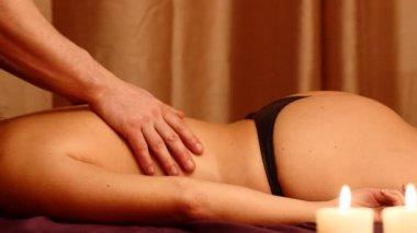 Man making erotic massage for woman — Stock Video