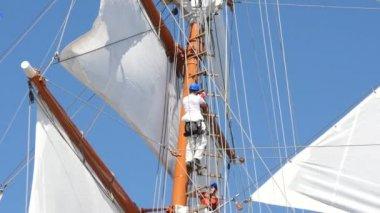 Sailor in modern uniform climbing higher on mast of sailfish — Stock Video