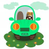 Cartoon sheep in the car — Stock Vector