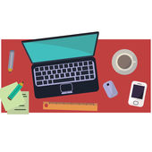 Workplace of freelancer in flat style — Stock Vector