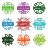 Set of typographic elements, spirograph labels, frames and ornaments — Stock Vector