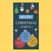 Christmas party invitation flat design — Stock Vector