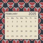 Calendar february 2015 design. Hearts pattern background — Stock Vector