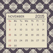 Calendar november 2015 design. Geometric pattern background — Stock Vector