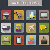 Warehouse transportation and delivery icons flat set — Vector de stock