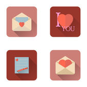 Valentines day love letter flat icons set with long shadow — Stock Vector