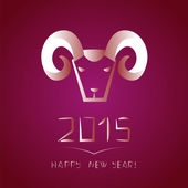 Chinese new year of the goat. Ram on purple background — Stockvektor