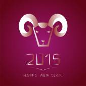 Chinese new year of the goat. Ram on purple background — Vettoriale Stock