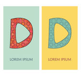 Letter D with geometric pattern. Can be used as logo, icon, template and others — Stock vektor