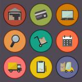 Warehouse transportation and delivery icons flat set — Stock Vector