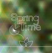 Spring time lettering blurred background with geometric triangle pattern — Stock Vector