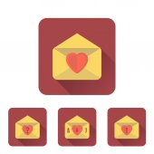 Love letter flat icons set with long shadow — Cтоковый вектор