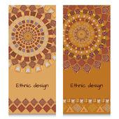 Banery z etnicznych projekt. Starożytny Indyjski amerykański wzór — Wektor stockowy