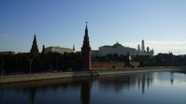 View of the Moscow Kremlin summer morning, timelaps — Stock Video