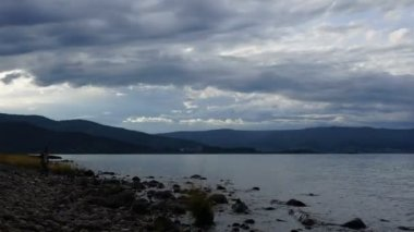 Clouds over lake Baikal. Cloudy day. Timelaps — Stock Video