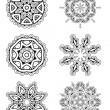 Vector set 6 abstract floral round lace ornament — Stock Vector #54743315